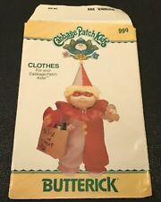 "Vintage Sewing Pattern Butterick 999 Cabbage Patch Kids 16"" Doll Clown Costume"