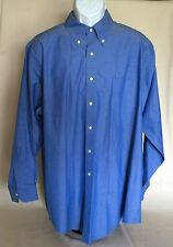 Pre-owned Brooks Brothers Non-Iron Traditional Fit Solid Blue Dress Shirt EUC