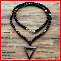 Tiger Stone Bead Black Men's Hematite Triangle Fashion Jewelry Necklace Pendant