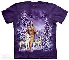 Native American Wolves Winter Eyes The Mountain T-Shirt (1320) All Sizes