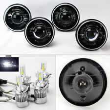 "FOUR 5.75"" 5 3/4 Round H4 Blk/Chm Projector Headlights w/ 36W LED H4 Bulbs Plymo"