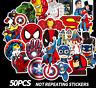 50 PVC Batman Spiderman Superman Hulk Kids Marvel Superhero Stickers Stickerbomb