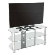 """TV Stand Modern Clear Glass Unit up to 50"""" inch HD LCD LED Curved TVs - 100cm"""