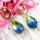 Wrapped Faceted Blue Green Tourmalin Crystal Teardrop Pendant Earring EH1311