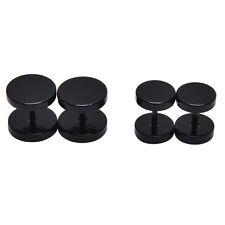 1Pair 2pcs Unisex Men Barbell Punk Gothic Stainless Steel Ear Studs Earrings GD