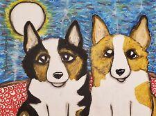 Moonlight Corgi Dog Art Print 4 x 6 Collectible Artist Ksams Pembroke Welsh