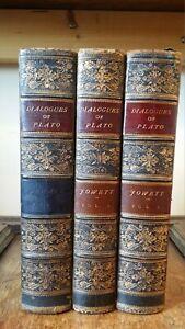 1892 DIALOGUES OF PLATO - JOWETT - THREE VOLUMES FINE BLUE LEATHER BINDING