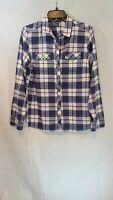 Womens Eddie Bauer Long Sleeve Button Down Plaid Flannel Shirt Sz Medium M EUC