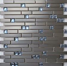 1m² Black Steel and Blue Diamond Glass Brick Shape Mosaic  Tile Sheet (MT0136)