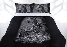 Dragon Doona cover set quilt duvet bedding Gothic Linen home DOUBLE Green eyed