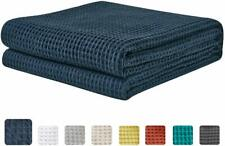 """Nice King Blanket Waffle Weave 108"""" x 90""""  Navy Blue 100% Cotton Bedding Thermal"""