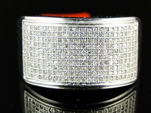 Men's White Gold FN Round Cut White CZ Pave Wedding Band 925 Silver Ring 0.80 CT