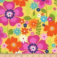 Flowertopia Fabric Rainbow Flowers Floral Michael Miller Premium Cotton