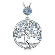 JewelryPalace Created Light Blue Spinel Life Of Tree 925 Sterling Silver Pendant