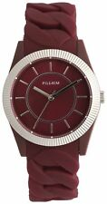 Pilgrim Designer Ladies Red Sporty Braided Watch, silver plated, in gift box