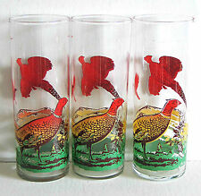 "3 Glass Game Bird Flying Pheasant Tumblers High Ball 6.5"" Vtg Barware FREE SH"