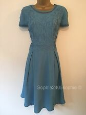 Reiss Size 16 Blue Beautiful Party Dress Brocade Front New Ex Reiss