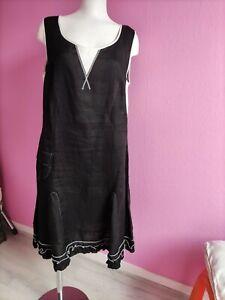 """Robe """"Quattro"""" - sans manches - en lin noire/blanc -Taille  46 (voir dimensions)"""