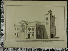 c1750 LARGE ANTIQUE LONDON PRINT ~ NORTH WEST PROSPECT PARISH CHURCH ST MARY