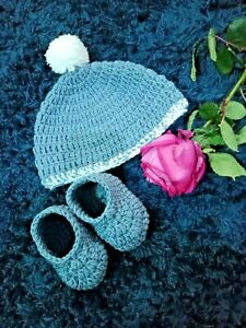 Baby Cap Set Boy Hat Handmade Girl Cute Knit Wrap Crochet Photography shoes