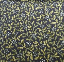 Black background with small flowers and leaves. Andover Fabrics