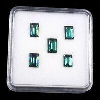 5 Pcs Natural Indicolite Tourmaline 5.5mm-6.5mm Baguette Cut Finest Quality Gems