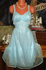 50s Blue Vintage Sheer Nylon Peignoir Chiffon Lace Negligee Sweep Gown S 34