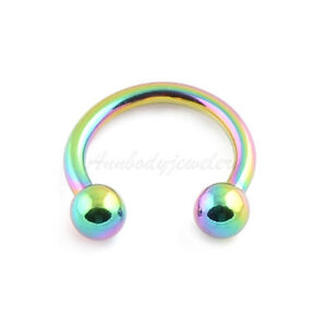 14G 16G Anodized 316L Steel Horseshoe Circular Barbell With Balls Ears Labret