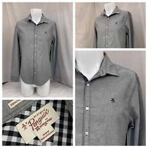 Penguin Shirt M Gray Button-up Slim Fit Cotton Poly Long Sleeve LNWOT YGI S0-66