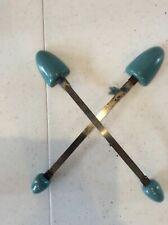 Vintage Lady's Shoe Stretcher pair wood/metal Sleek Blue 1950 Ish Mid Century
