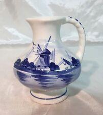 Royal Delft Blue & White Bud Round Flower Vase Pitcher Handle WINDMILL NEW