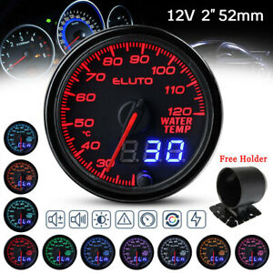 ELUTO Dual Display 2'' 52mm Digital Water Temp Temperature Gauge 10 Colors Led