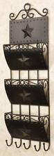 Primitive new hanging black tin STAR letter holder w/hooks / nice