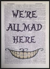 Mad Hatter Alice in Wonderland We're All Mad Here Print Dictionary Page Art