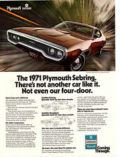 1971 PLYMOUTH SATELLITE SEBRING ~ ORIGINAL PRINT AD