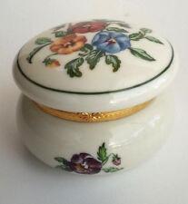 Pansy Porcelain Keepsake Tealight Candle Holder Trinket Box P7187 Partylite