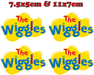 (x4) Wiggles Iron On Transfer, Costume Dress Up for All Colour Fabric - Pre-Cut