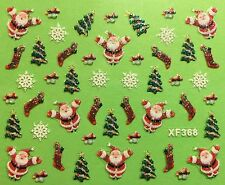 Nail Art 3D Decal Stickers Christmas Tree Santa Snowflakes Holiday XF368