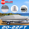 20-22FT Trailerable Boat Cover Waterproof  Non-Abrasive Lining V-Hull Beam 100''