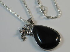 BLACK AGATE DROGON DRAGONS EGG Necklace - Game Of Thrones - Khalessi - STEAMPUNK