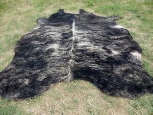 Big ! BRINDLE DARK GRAY BROWN Cowhide Rug natural Cowhides Cow Hide Skin 6X6 RTO