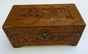 Vintage Jewellery Box HAND CARVED WOOD ornate Asian HINGED leaf design