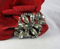 Vintage Dazzling Gray Prong Set Rhinestone Pin Brooch CAT RESCUE