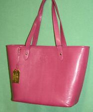 Ralph Lauren Tote Pink Newton Classic large bag Hot Pink Genuine Leather RET 248