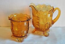 Antique Indiana Tumbler and Goblet Co. Dewey Pattern Amber Creamer and Sugar