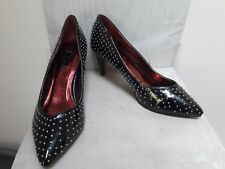 Black Patent Studded Stilletto Court Shoes Next Size 6.5 UK 40 EU Pointed Toe
