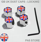 Union Jack GB Locking Chrome Valve Dust Caps - Universal Car Van Anti-Theft UK