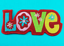 LOVELY RED LOVE Cute Hippie Girl Biker Embroidery Iron Sew on Patch Applique New