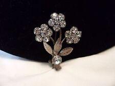 "Vintage Glass Rhinestone Estate Flower Silver Plate Brooch Pin 1 1/2"" Krementz"
