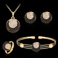 Lady Women Sun and Moon Rhinestone Necklace Bracelet Ring Earrings Jewelry Set